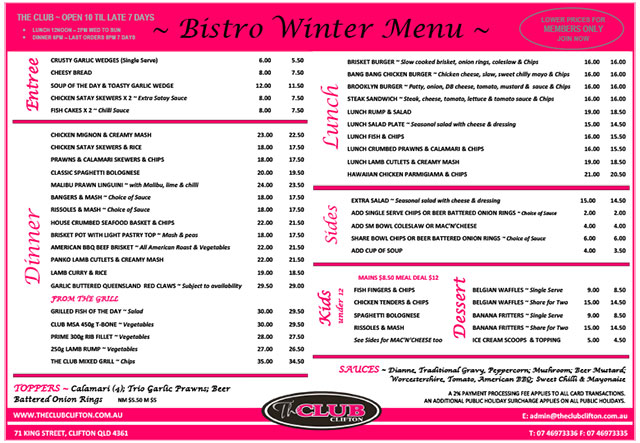 The Club Clifton 'Take Out' Menu